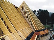 roofing beams in a cone shape